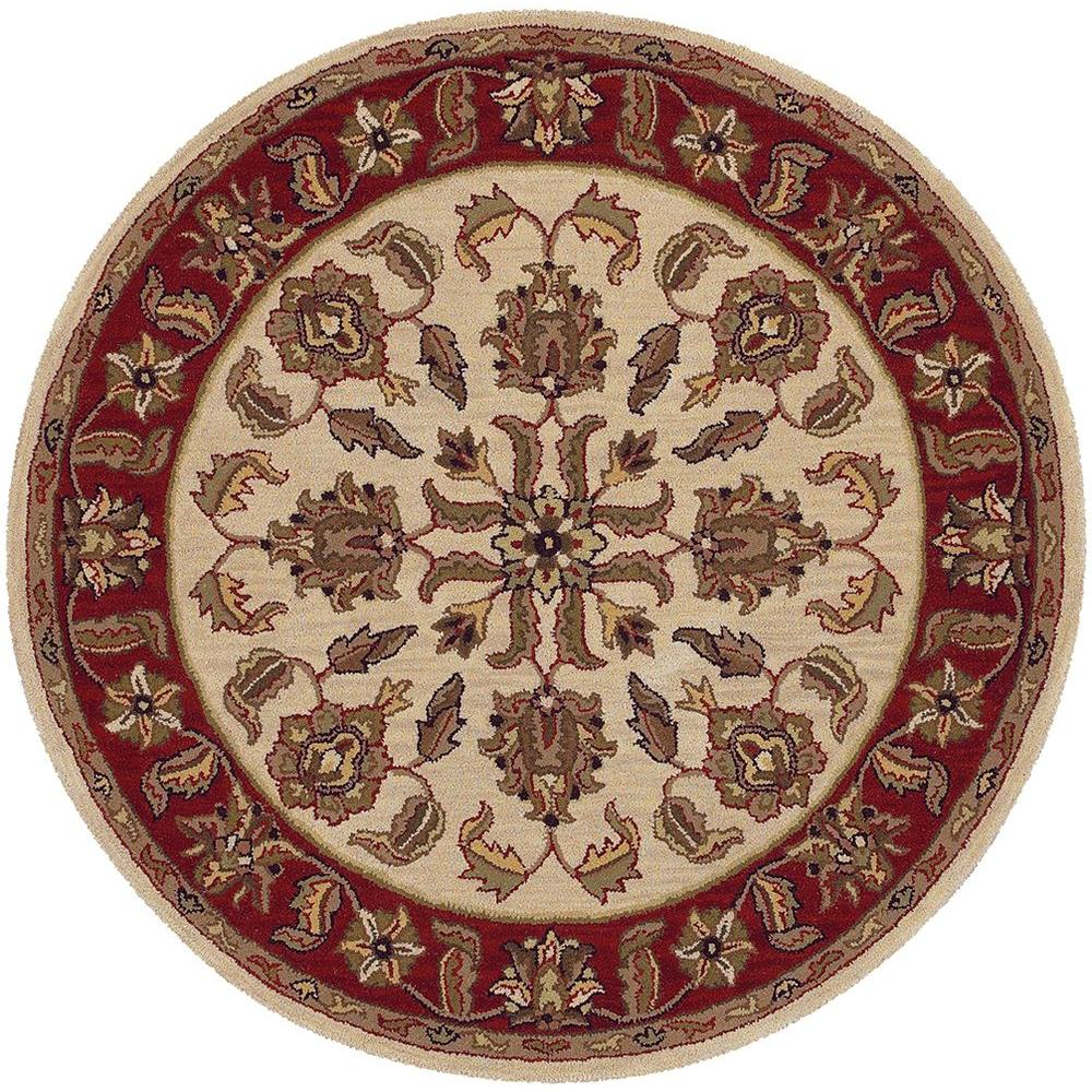 LR Resources Shapes Ivory and Red 7 ft. 9 in. x 7 ft. 9 in. Plush Indoor Round Area Rug