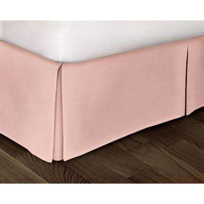 Pink Solid Pattern Queen Bed Skirt