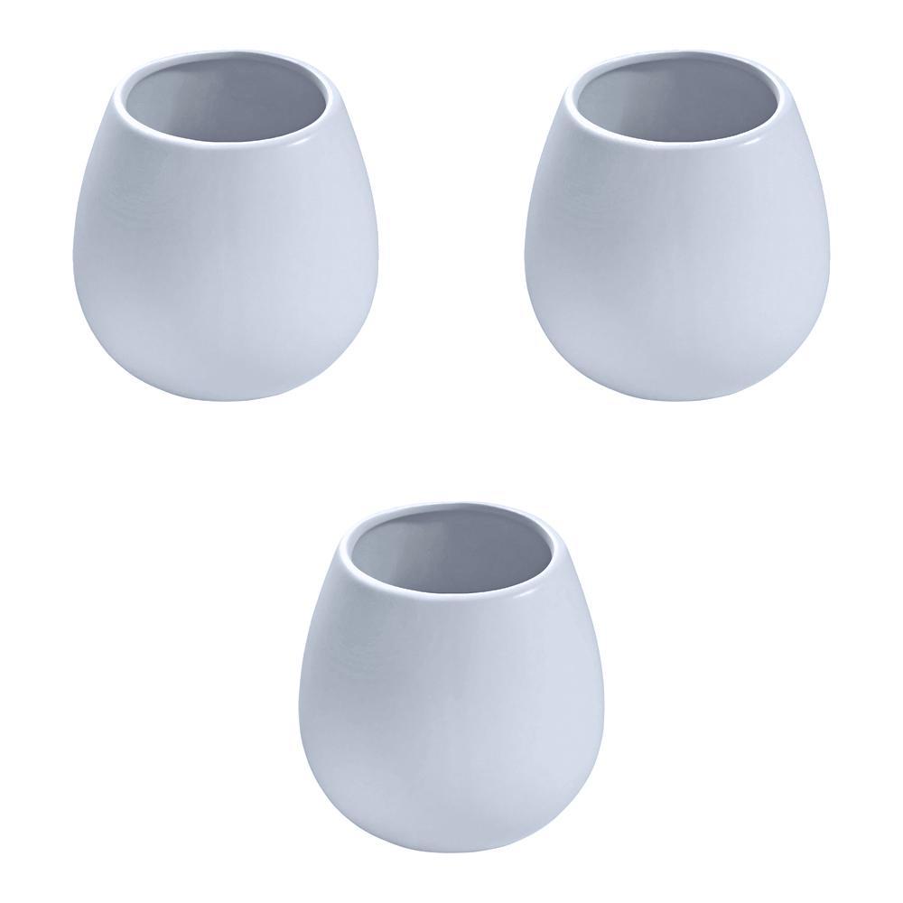 Round 3-1/2 in. x 4 in. Sky Ceramic Wall Planter (3-piece)