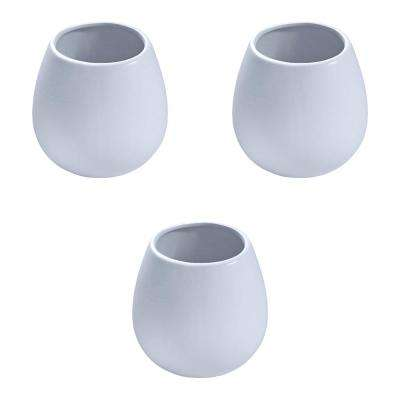 Round 3-1/2 in. x 4 in. Sky Ceramic Wall Planter (3-piece)
