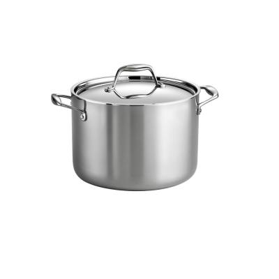 Gourmet Tri-Ply 8 Qt. Stainless Steel Stock Pot with Lid