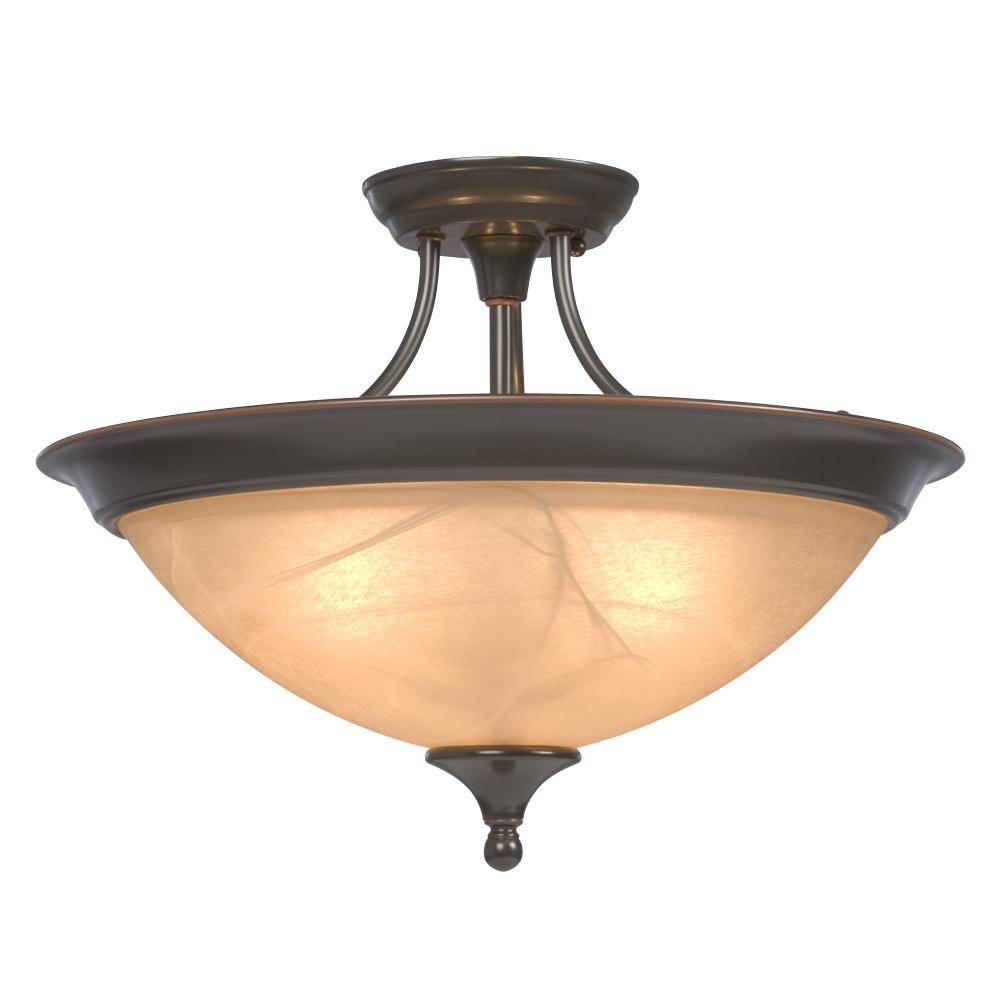 Negron 3-Light Dark Brown Copper Incandescent Semi Flush Mount