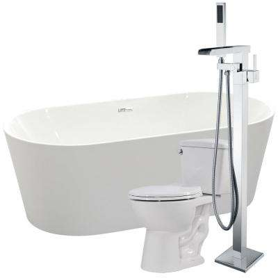 Chand 67 in. Acrylic Flatbottom Non-Whirlpool Bathtub in White with Union Faucet and Cavalier 1.28 GPF Toilet