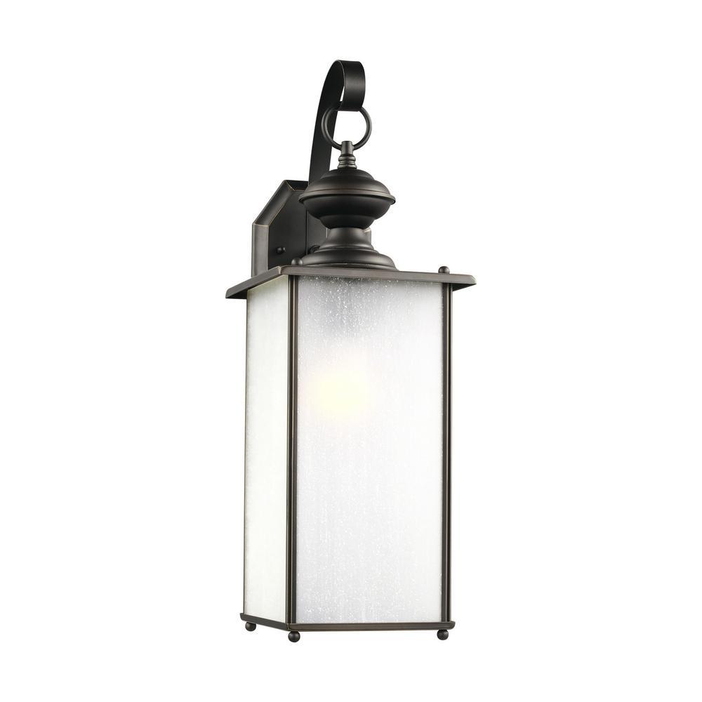 Jamestowne 1-Light Antique Bronze Outdoor 20.25 in. Wall Lantern Sconce
