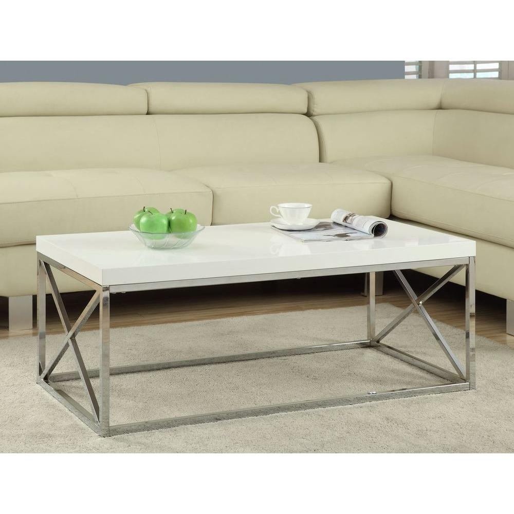Annika White Gloss Coffee Table: Monarch Specialties Gloss White And Chrome Coffee Table-I