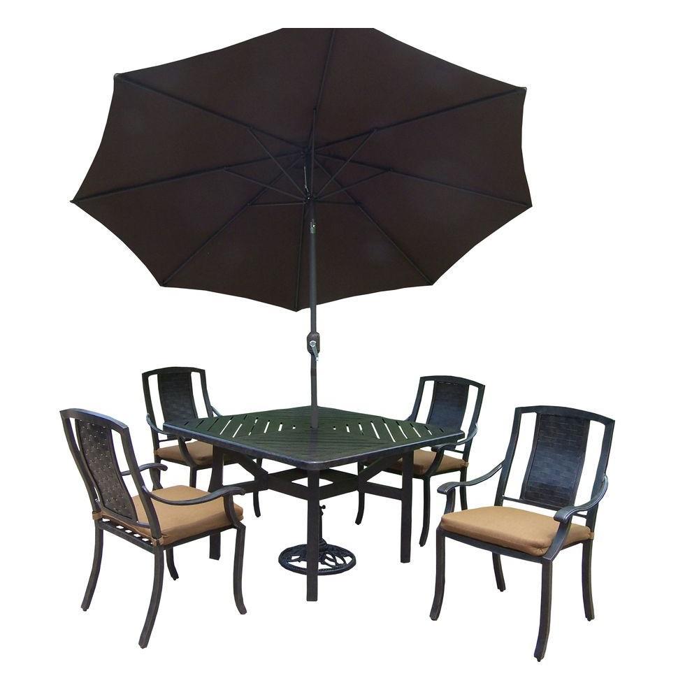 7-Piece Square Aluminum Patio Dining Set with Sunbrella Canvas Teak Cushions and Umbrella