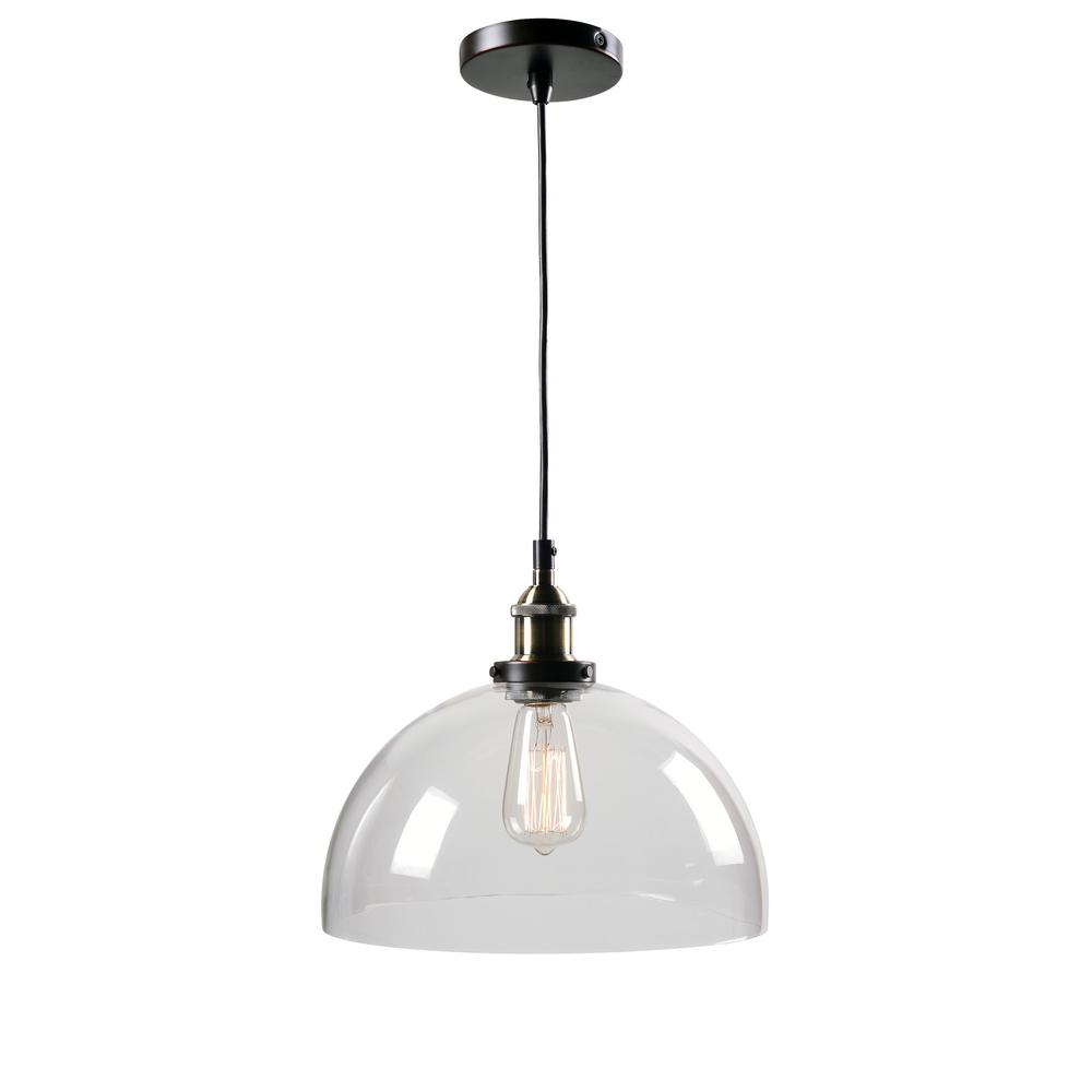 Arcade 1-Light Oil Rubbed Bronze and Antique Brass Pendant