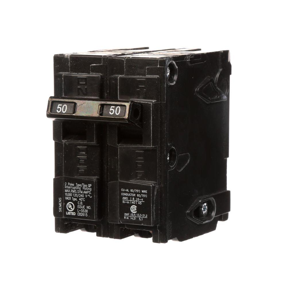 siemens 50 amp double-pole type qp circuit breaker-q250 - the home depot  the home depot