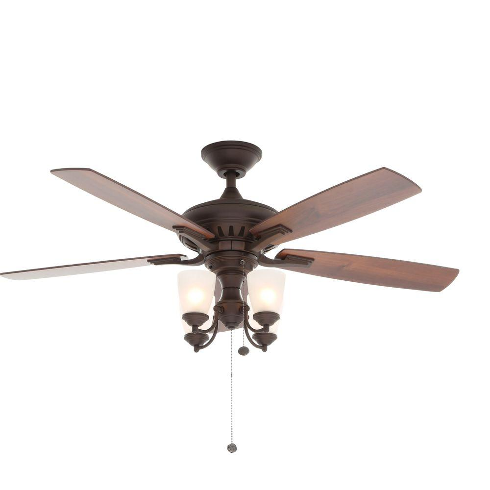 Indoor Oil Rubbed Bronze Ceiling Fan With Light Kit 14949 The Home Depot