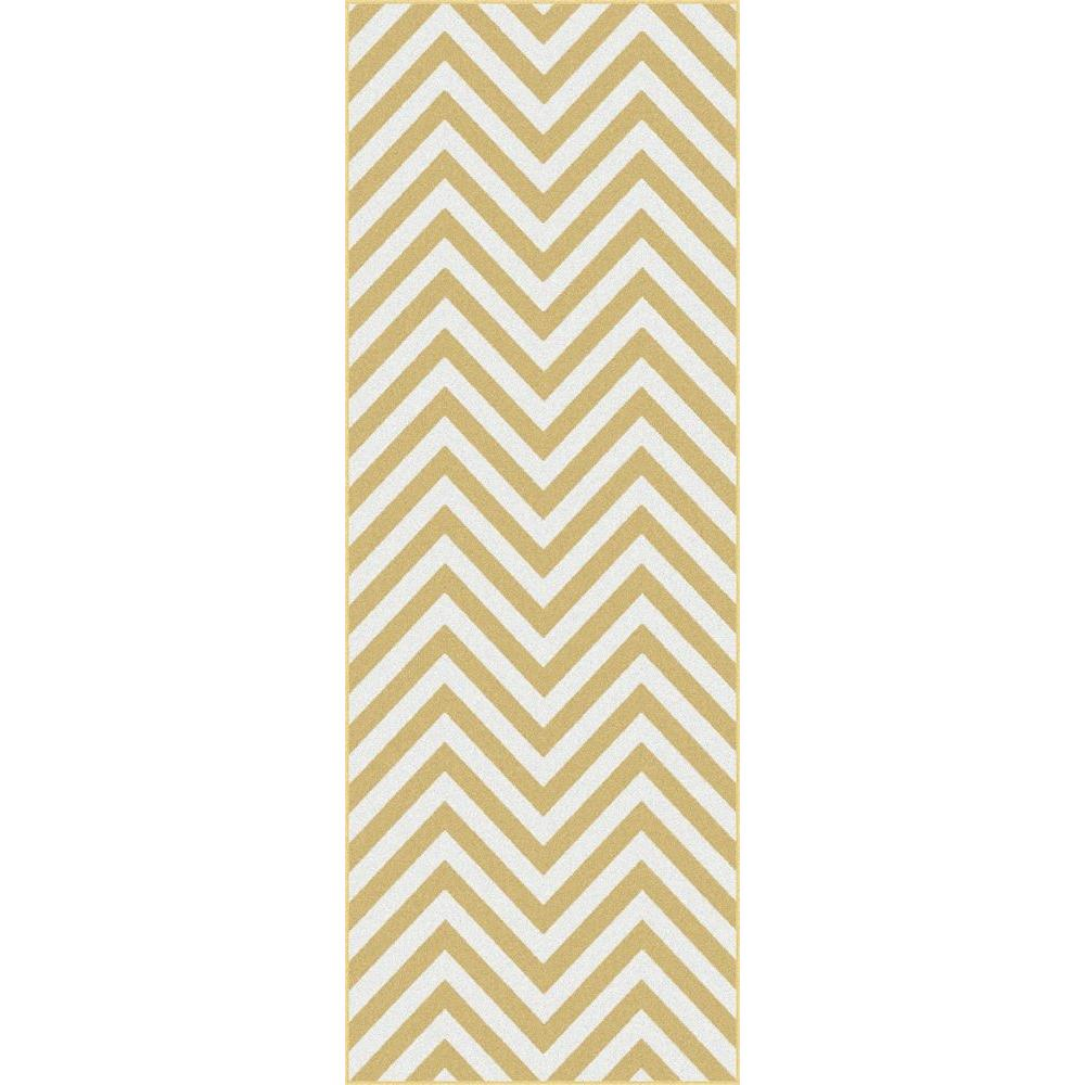 Tayse Rugs Metro Yellow 2 ft. 7 in. x 7 ft. 3 in. Contemporary Runner