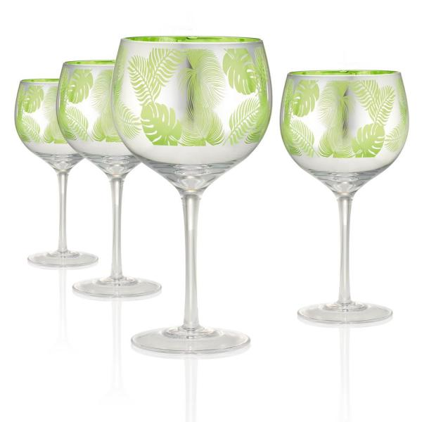 Tropical Leaves 22 oz. 4-Piece Balloon Wine/Gin Glass Set