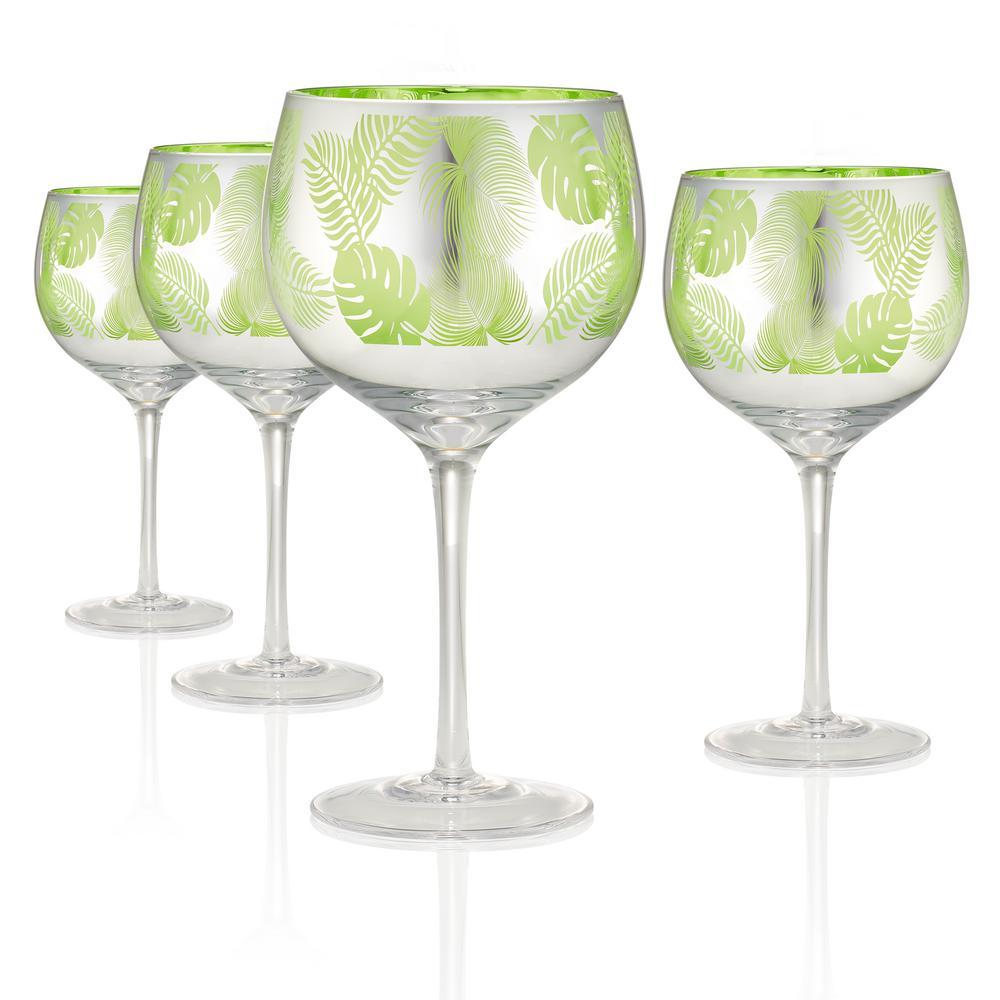 Tropical Leaves 22 oz. 4-Piece Balloon Wine/Gin Glass Set
