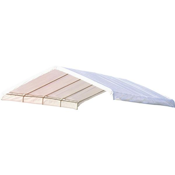 12 ft. W x 26 ft. D SuperMax Canopy Replacement Cover in White (Fits 2 in. Frame) with Patented Twist-Tie Tension