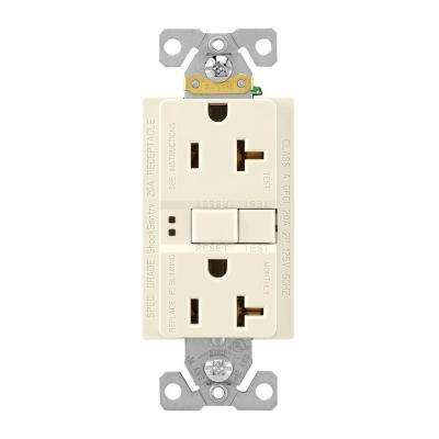 GFCI Self-Test 20A -125V Duplex Receptacle with Standard Size Wallplate, Light Almond
