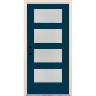 36 In X 80 Elite Atlantis Etch Gl Contemporary Right Hand 4 Lite Satin Painted Fibergl Prehung Front Door
