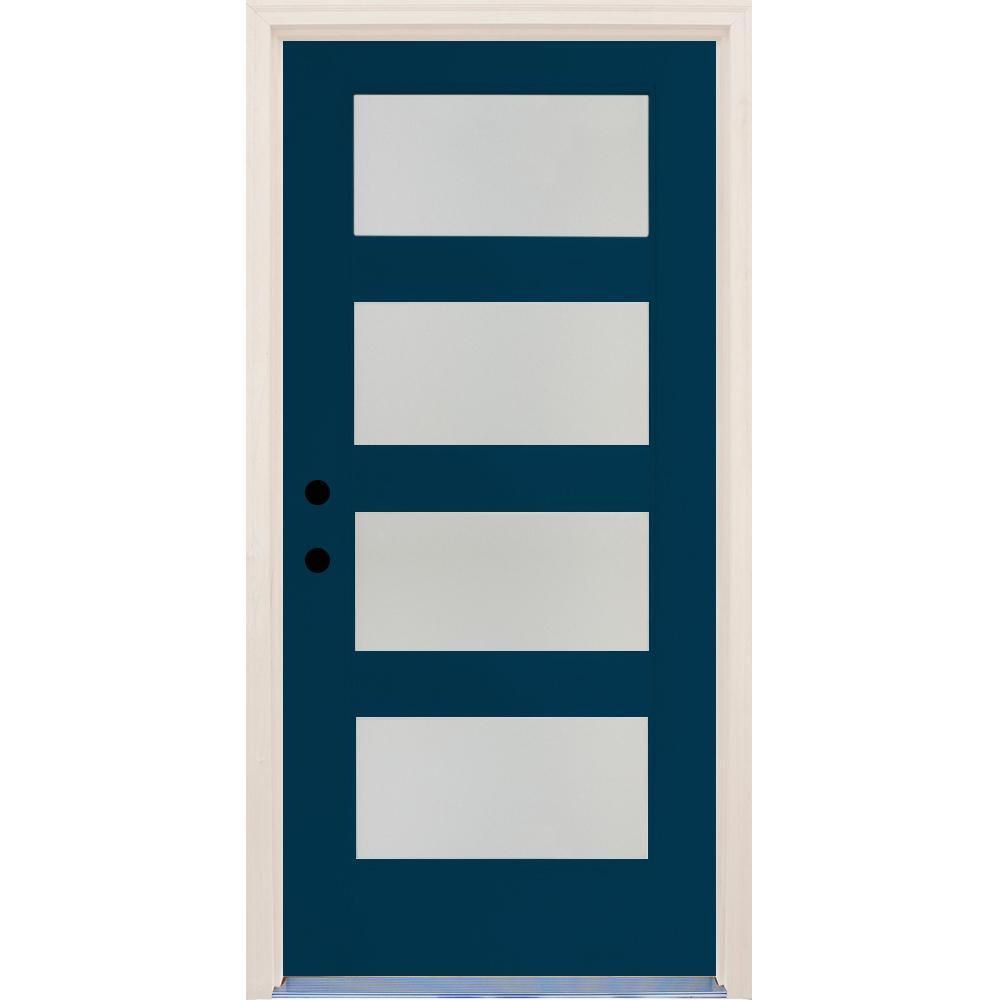 36 in. x 80 in. Elite Atlantis Etch Glass Contemporary Right-Hand 4 Lite Satin Painted Fiberglass Prehung Front Door