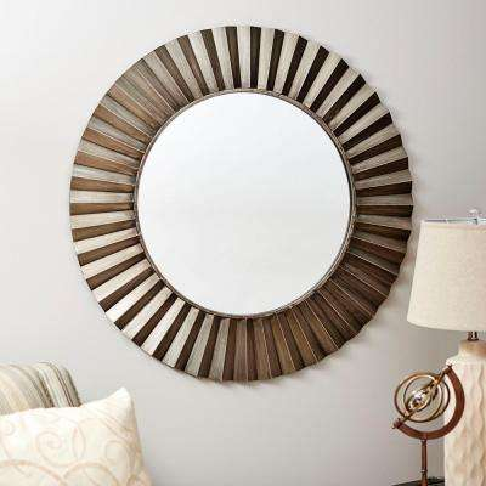 Round Ridged Wall Mirror