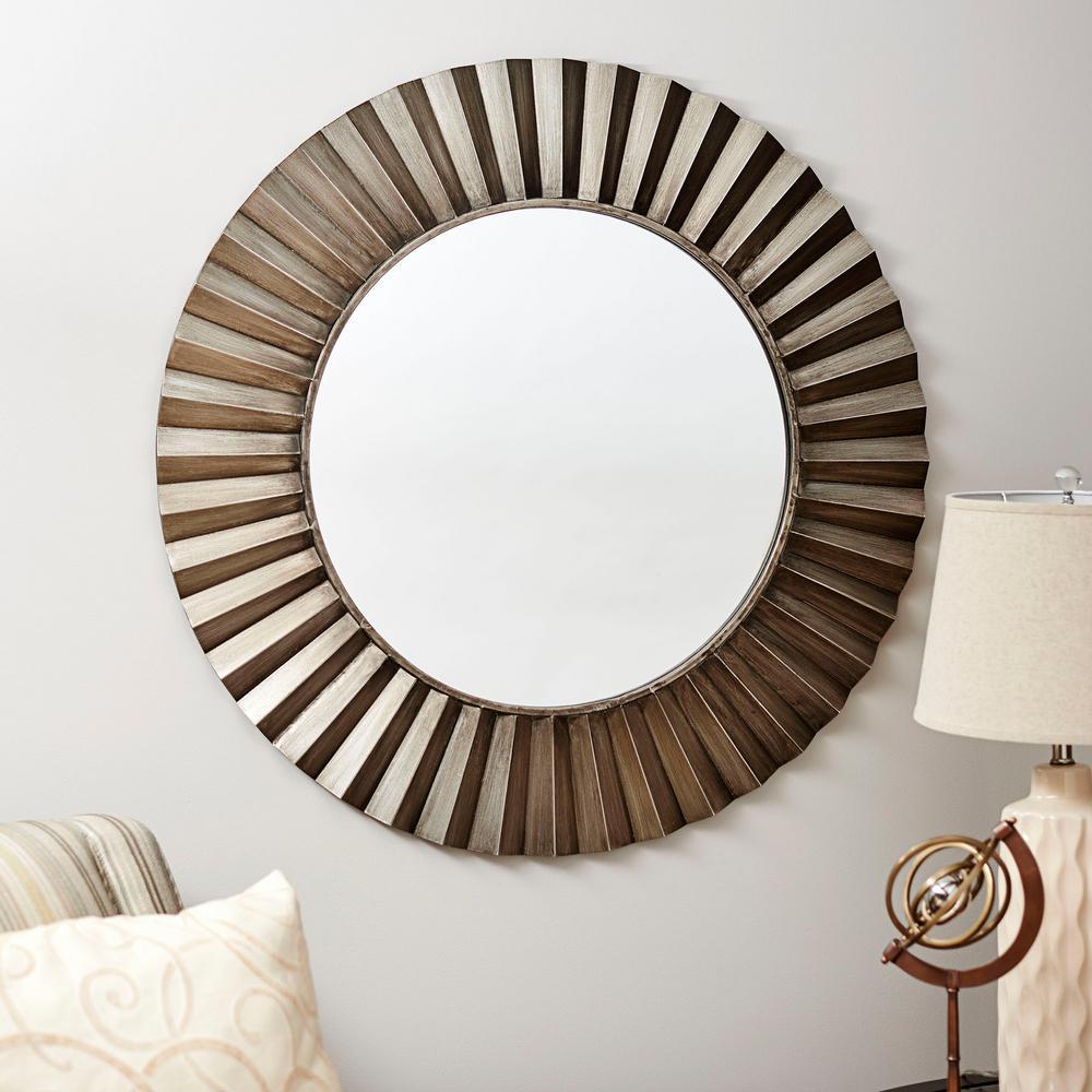 Household Essentials Round Ridged Wall Mirror