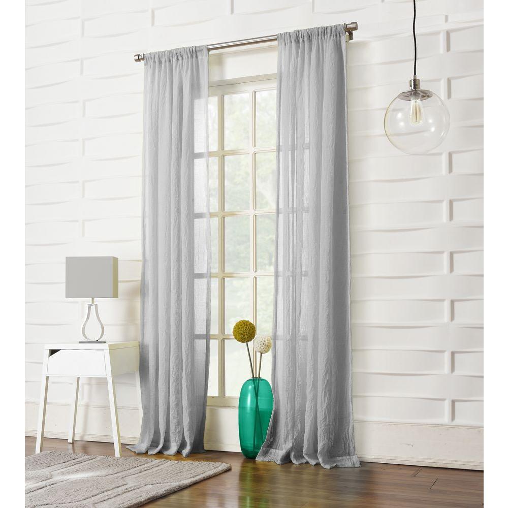 LICHTENBERG Sheer Gray No 918 Millennial Laguna Rod Pocket Curtain Panel 50 In