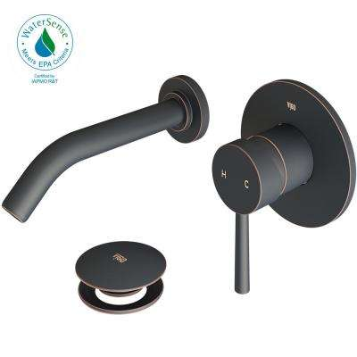 Single Hole Single-Handle Wall-Mount Vessel Bathroom Faucet with Pop-Up Drain in Antique Rubbed Bronze
