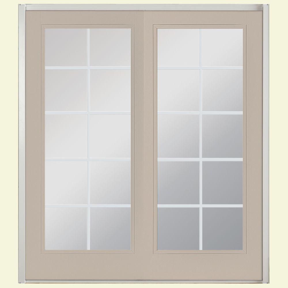 Prehung 10 Lite Fiberglass Patio Door with No Brickmold in Vinyl Frame