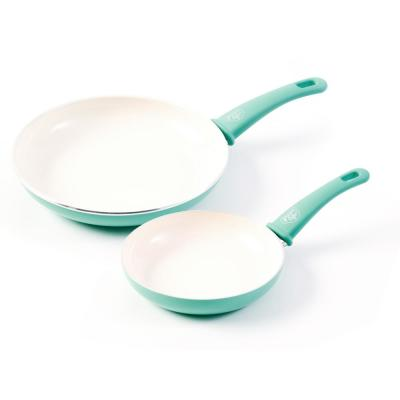 Turquoise Ceramic Non-Stick 7 in. and 10 in. Frypan Set