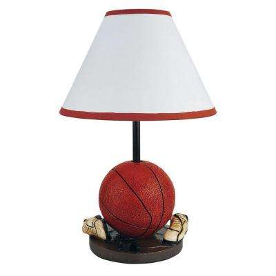 15 in. Basketball Orange and Brown Accent Lamp