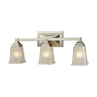 Sinclair 3-Light Brushed Nickel With Frosted Glass Bath Light