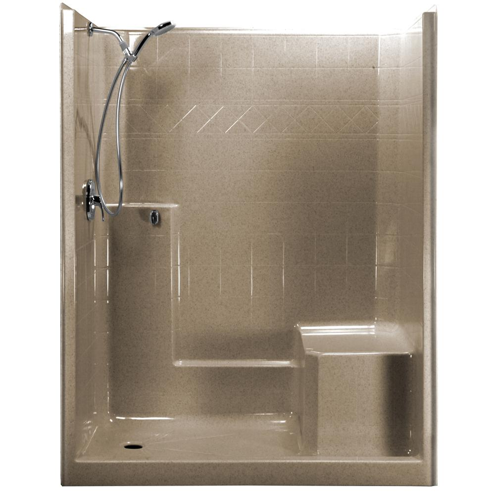 Ella 60 in. x 33 in. x 77 in. 1-Piece Low Threshold Shower Stall in Cotton Seed, Shower Kit ...
