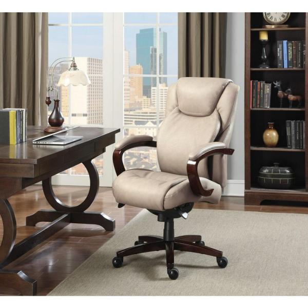 La Z Boy Linden Taupe Bonded Leather Executive Office Chair 45780