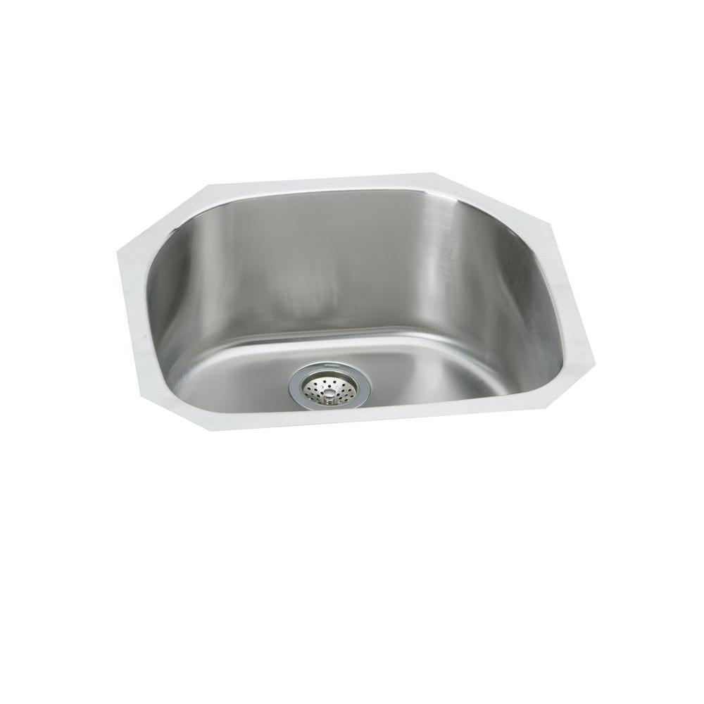 Elkay Signature Plus Undermount Stainless Steel 24 In. Single Bowl Kitchen  Sink