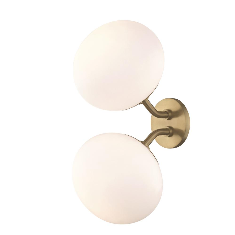 Estee 2-Light Aged Brass Wall Sconce with Opal Etched Glass