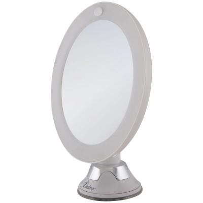 7.75 in. L x 6.5 in. W LED Lighted Round Suction Cup Wall Mount 10X Magnification Beauty Makeup Mirror in White