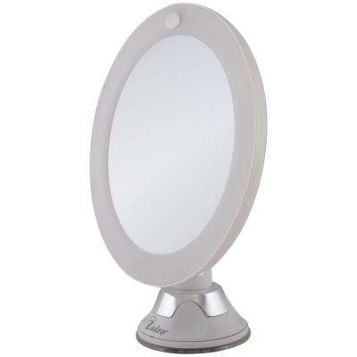7.75 in. L x 6.5 in. W LED Lighted Vanity/Wall Makeup Mirror in White