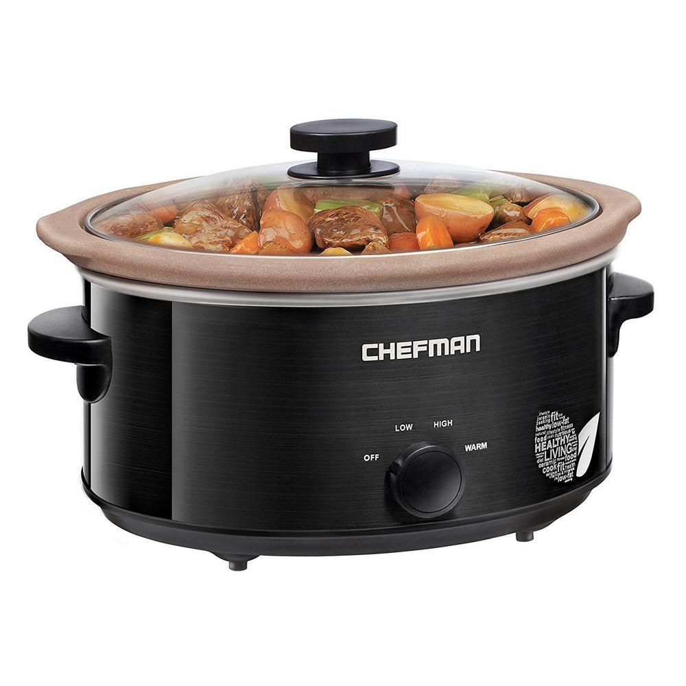 Chefman 5 Qt. Non-Stick Slow Cooker, Black