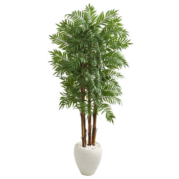 Nearly Natural 6 ft. Parlour Artificial Palm Tree in White Planter