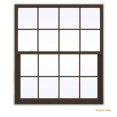 47.5 in. x 59.5 in. V-2500 Series Brown Painted Vinyl Single Hung Window with Colonial Grids/Grilles