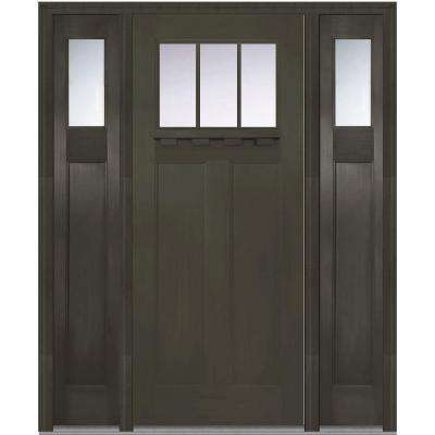 64 in. x 80 in. Craftsman Right-Hand 3-Lite Clear Stained Fiberglass Fir Prehung Front Door with Shelf and Sidelites