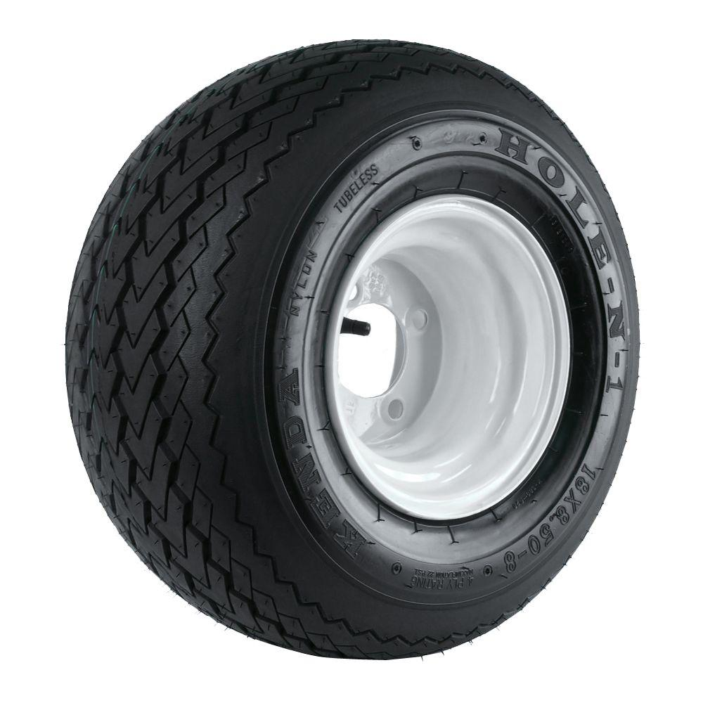 KENDA 18x850-8 4-Hole White Golf Cart Tire and Wheel Asse...