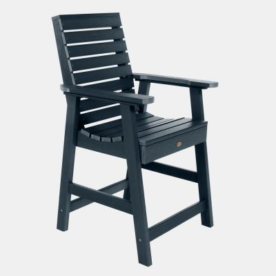 Weatherly Federal Blue Counter Plastic Outdoor Dining Chair