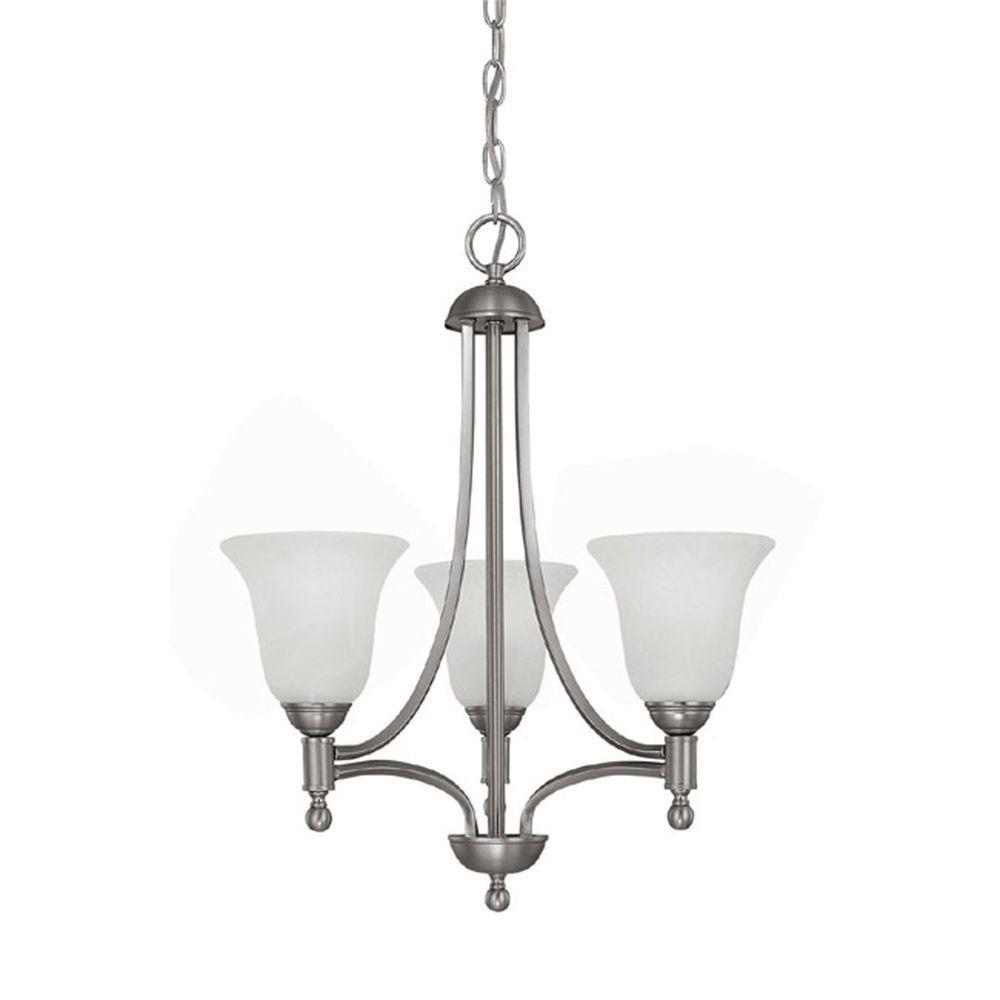 Filament Design 3-Light 24 in. Matte Nickel Chandelier with White Alabaster Glass