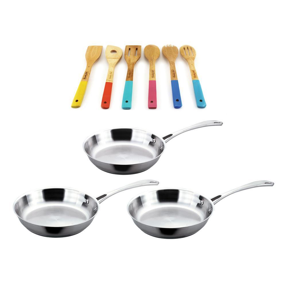 Copper Clad 3-Piece Cookware Set with 6-Piece Wooden Utensil Set
