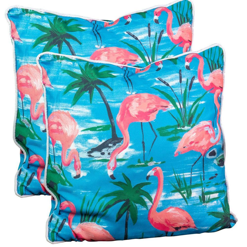 Flamingo Spunpoly Outdoor Throw Pillow (2-Pack)