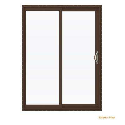 60 in. x 80 in. V-2500 Brown Painted Vinyl Right-Hand Full Lite Sliding Patio Door w/White Interior