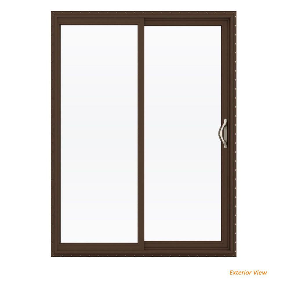 60 in. x 80 in. V-2500 Brown Painted Vinyl Right-Hand Full Lite Sliding Patio Door w/White Interior