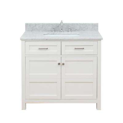 Vancouver 37 in. W x 34 in. H Bath Vanity in White with Marble Vanity Top in White with White Basin