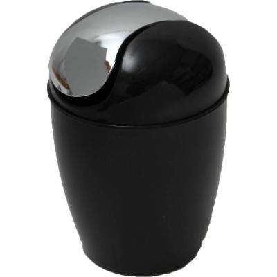 0.5 l/0.3 Gal. Mini Waste Basket for Bath or Kitchen Countertop with Chrome Lid in Black