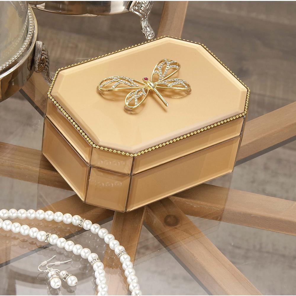 6 in. x 3 in. Wooden Gold Dragonfly Glass Box-35780 - The Home Depot