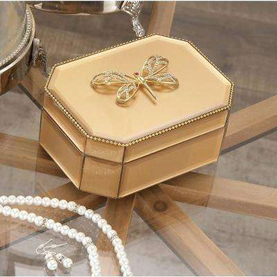 6 in. x 3 in. Wooden Gold Dragonfly Glass Box