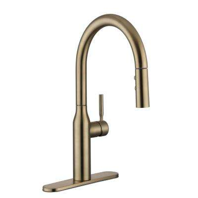 Upson Single-Handle Pull-Down Sprayer Kitchen Faucet in Matte Gold